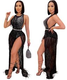 Robe longue sexy à franges perlées noires de soirée de luxe