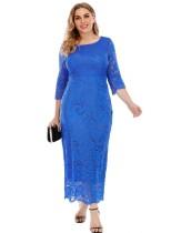 Büyük Beden Sonbahar Zarif Dantel Mavi Elbise