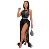 Luxus Party Sexy Ärmelloses Schwarzes Perlenfransen Langes Kleid