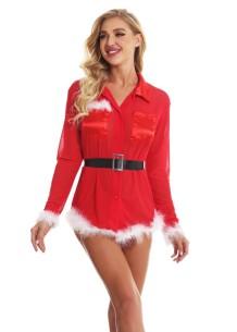 Vestido com blusa de penas sexy para noite de natal com cinto