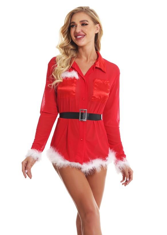 Weihnachtsnacht sexy Feder Bluse Kleid mit Gürtel