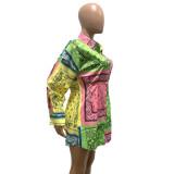 Langarm-Blusenkleid mit Herbstkontrastdruck