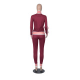 Autumn Stripes Zip Up Enger Trainingsanzug