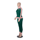 Autumn Stripes Zip Up Enger Trainingsanzug