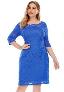 Плюс Размер Осеннее Элегантное Кружевное Синее Вечернее Платье