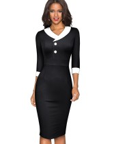 Autumn Solid Plain Vintage O-Neck Collar Office Midi Dress