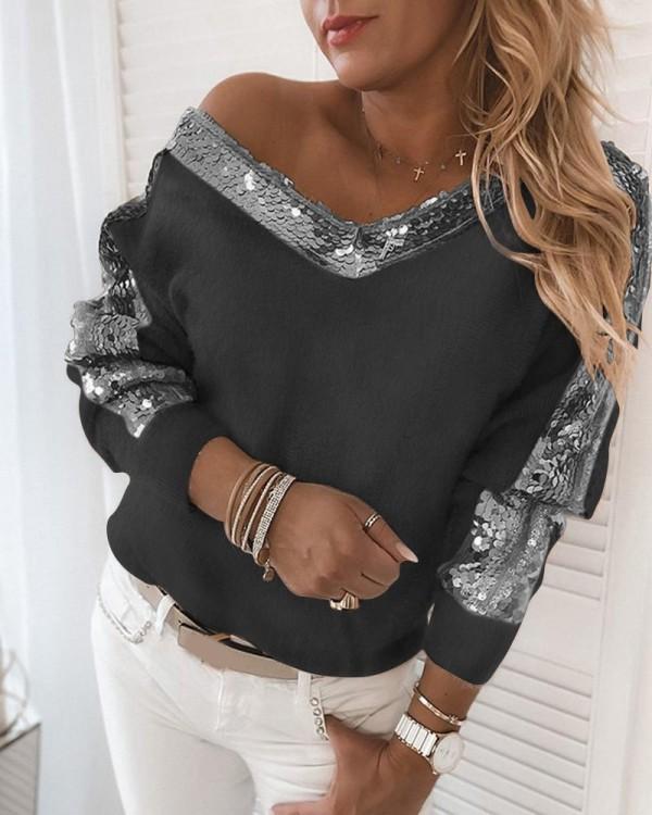Herbst Pailletten V-Ausschnitt Plüsch Shirt