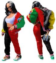 Herbst Kontrast Jersey Jacke und Hose Set