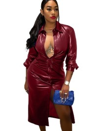 Winter African Leather Blouse Dress