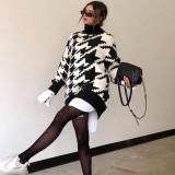 Winter Print Rollkragenpullover mit langem Pullover