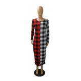 Autumn Casual Plaid Print Kontrast Langes Kleid