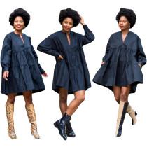 Herbstliches dunkelblaues A-Linien-Jeanskleid