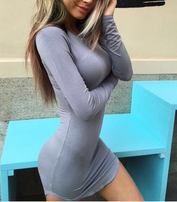 Herbst Solid Plain Round Neck Tight Shirt Kleid