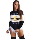 Herbst Weiß und Schwarz Print O-Neck Sweat Shirt