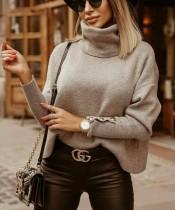 Suéter suelto liso de cuello alto liso de invierno