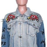 Herbstdruck Blue Contrast Button Up Jeansjacke