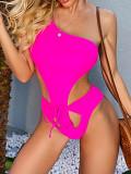Einteilige rosa ausgeschnittene Badebekleidung mit einer Schulter