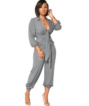 Herbst Solid Plain Party Sexy Plunging Jumpsuit