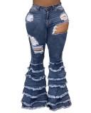 Autumn Stylish Cut Out Quasten Flare Jeans