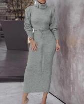 Conjunto de falda tubo y top de cuello alto de punto a juego de invierno