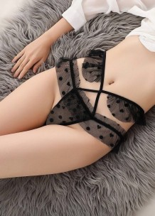 Sexy Heart and Dot Print See Through Panty Lingerie