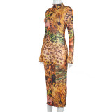 Herbst Party Leopardenmuster Midikleid