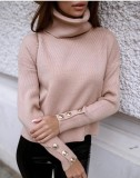 Winter Solid Plain Rollkragenpullover Loose Sweater