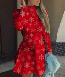 Vestido Skater com Zíper Vermelho Estampado de Natal