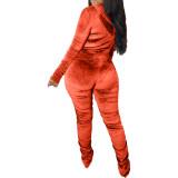 Autumn Matching Velvet Ruched Zip Crop Top und Hosen Set