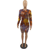 Herbst Party Print Sexy zerrissenes Bodycon Kleid