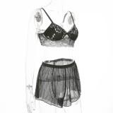Schwarzer sexy Spitzen-BH und Shorts Dessous-Set