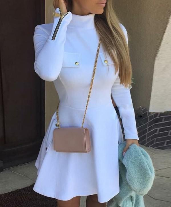 Winter White Rollkragenpullover mit Reißverschluss
