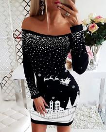 Vestido de festa de ombro estampado em branco e preto de Natal