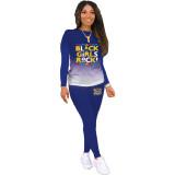 Herbst Casual Letter Print Farbverlauf Shirt und Hosen Set