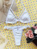 Zweiteilige weiße Rüschen Neckholder-Badebekleidung