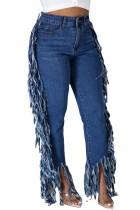 Осенние синие стильные джинсы с кисточками