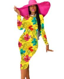Abito midi a maniche lunghe floreale africano