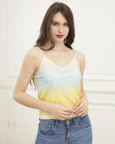Blusa sin mangas con lentejuelas en contraste sexy
