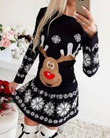 Vestido skater de manga comprida estampado de natal