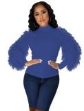 Autumn Solid Round Neck Bluse mit Plüschärmel
