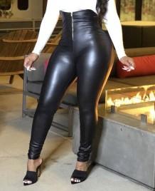 Сексуальные кожаные брюки с высокой талией на молнии