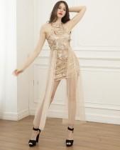 Ärmelloses Clubkleid mit sexy Pailletten und Netzsaum