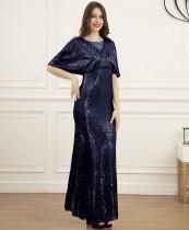 Elegante abito da sera a maniche corte con paillettes