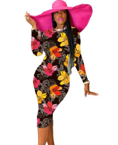 Midi-jurk met Afrikaanse bloemen en lange mouwen