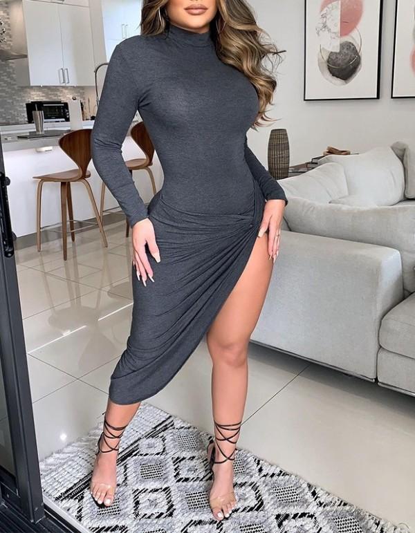 Sexy Solid Ruffle Asymmetrisches Clubkleid