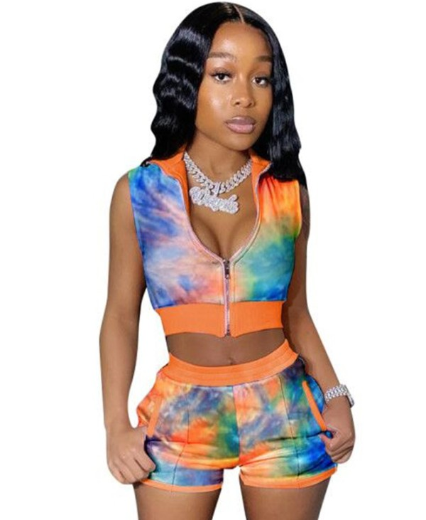 Sexy Tie Dye Zweiteiliges Crop Top Shorts Set
