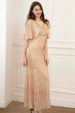 Elegantes kurzärmliges Abendkleid mit vollen Pailletten