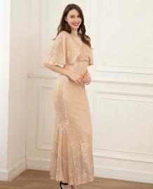 エレガントなフルスパンコール半袖イブニングドレス