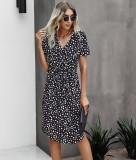 Sommer Casual Print Kordelzug Wrapped Midi Kleid