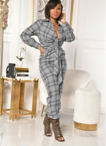 Herbst Plaid Print Sexy Plunging Knotted Jumpsuit